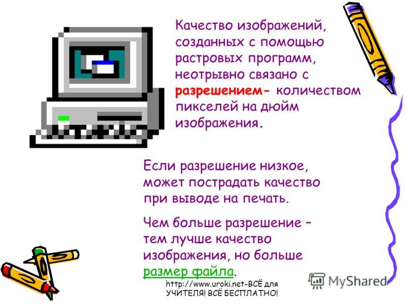 http://www.uroki.net-ВСЁ для УЧИТЕЛЯ! ВСЁ БЕСПЛАТНО! Качество изображений, созданных с помощью растровых программ, неотрывно связано с разрешением- количеством пикселей на дюйм изображения. Если разрешение низкое, может пострадать качество при выводе