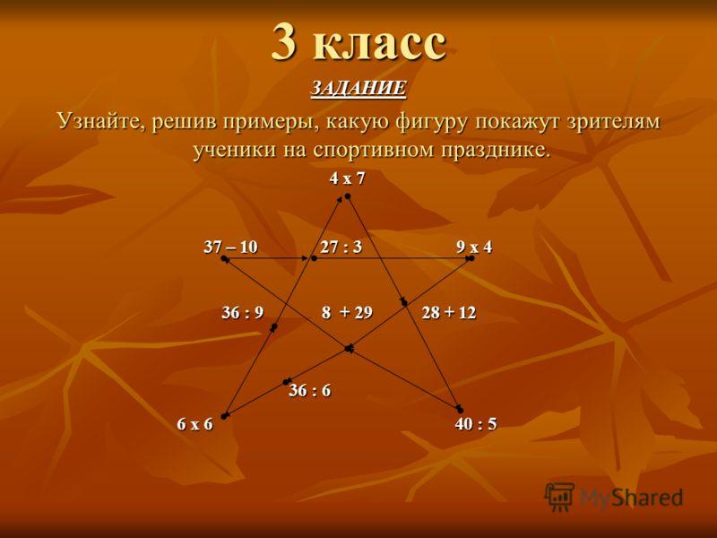 3 класс ЗАДАНИЕ Узнайте, решив примеры, какую фигуру покажут зрителям ученики на спортивном празднике. 4 х 7 4 х 7 37 – 10 27 : 3 9 х 4 37 – 10 27 : 3 9 х 4 36 : 9 8 + 29 28 + 12 36 : 9 8 + 29 28 + 12 36 : 6 36 : 6 6 х 6 40 : 5 6 х 6 40 : 5