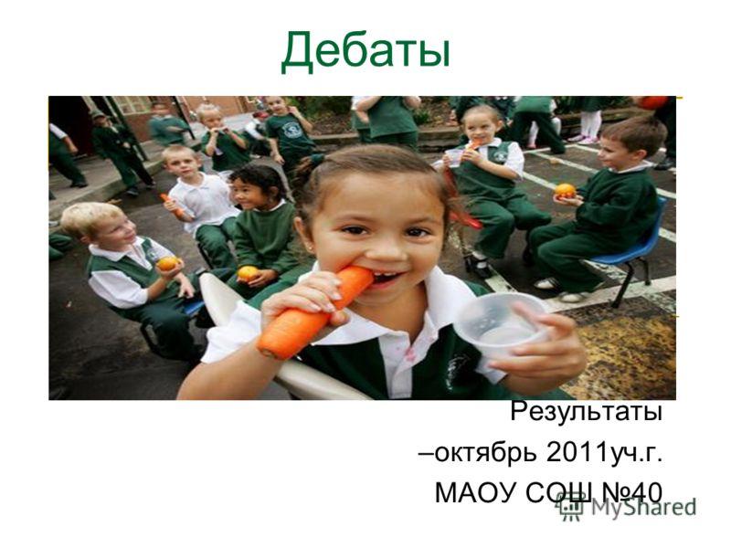 Результаты –октябрь 2011уч.г. МАОУ СОШ 40 Дебаты
