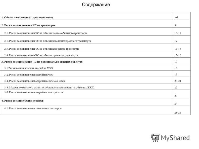 Содержание 1. Общая информация (характеристика) 3-8 2. Риски возникновения ЧС на транспорте 9 2.1. Риски возникновения ЧС на объектах автомобильного транспорта 10-11 2.1. Риски возникновения ЧС на объектах железнодорожного транспорта 12 2.3. Риски во