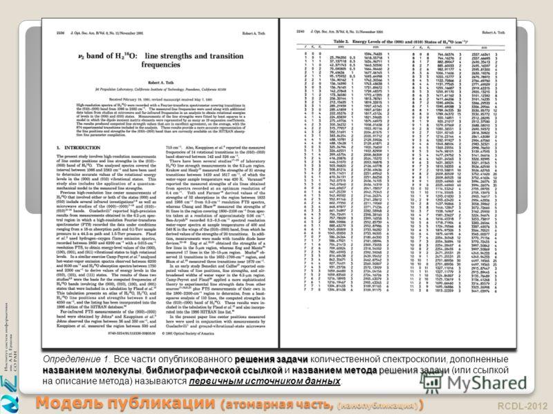 Модель публикации (атомарная часть, (нанопубликация) ) RCDL-2012 решения задачи названием молекулыбиблиографической ссылкой названием метода решения задачи Определение 1. Все части опубликованного решения задачи количественной спектроскопии, дополнен