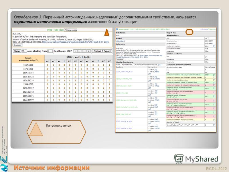 Источник информации RCDL-2012 первичным источником информации Определение 3. Первичный источник данных, наделенный дополнительными свойствами, называется первичным источником информации извлеченной из публикации. Качество данных