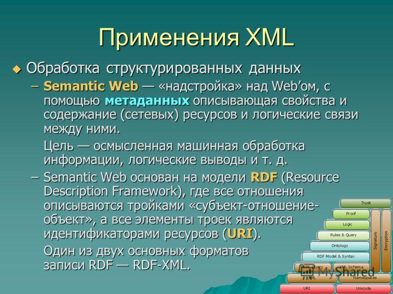 Применения XML Обработка структурированных данных Обработка структурированных данных –Semantic Web «надстройка» над Webом, с помощью метаданных описывающая свойства и содержание (сетевых) ресурсов и логические связи между ними. Цель осмысленная машин