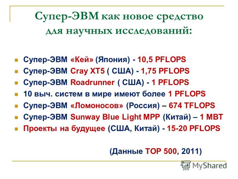 Супер-ЭВМ как новое средство для научных исследований: Супер-ЭВМ «Кей» (Япония) - 10,5 PFLOPS Супер-ЭВМ Cray XT5 ( США) - 1,75 PFLOPS Супер-ЭВМ Roadrunner ( США) - 1 PFLOPS 10 выч. систем в мире имеют более 1 PFLOPS Супер-ЭВМ «Ломоносов» (Россия) – 6