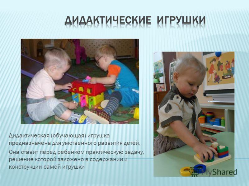 Дидактическая (обучающая) игрушка предназначена для умственного развития детей. Она ставит перед ребенком практическую задачу, решение которой заложено в содержании и конструкции самой игрушки
