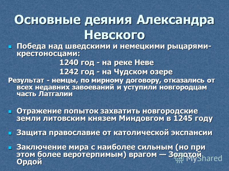 Основные деяния Александра Невского Победа над шведскими и немецкими рыцарями- крестоносцами: Победа над шведскими и немецкими рыцарями- крестоносцами: 1240 год - на реке Неве 1240 год - на реке Неве 1242 год - на Чудском озере 1242 год - на Чудском