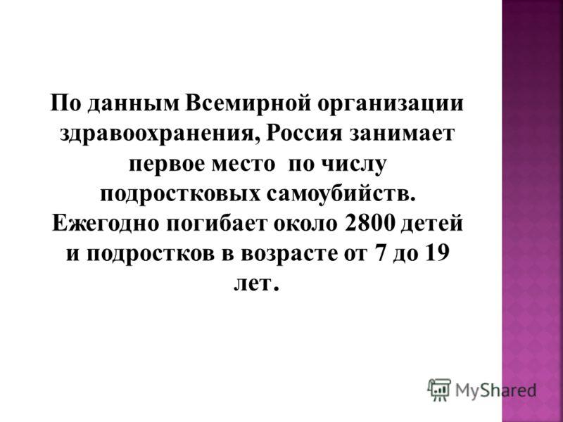По данным Всемирной организации здравоохранения, Россия занимает первое место по числу подростковых самоубийств. Ежегодно погибает около 2800 детей и подростков в возрасте от 7 до 19 лет.