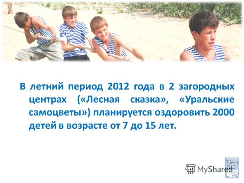 В летний период 2012 года в 2 загородных центрах («Лесная сказка», «Уральские самоцветы») планируется оздоровить 2000 детей в возрасте от 7 до 15 лет.