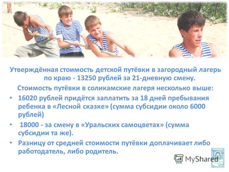 Утверждённая стоимость детской путёвки в загородный лагерь по краю - 13250 рублей за 21-дневную смену. Стоимость путёвки в соликамские лагеря несколько выше: 16020 рублей придётся заплатить за 18 дней пребывания ребенка в «Лесной сказке» (сумма субси