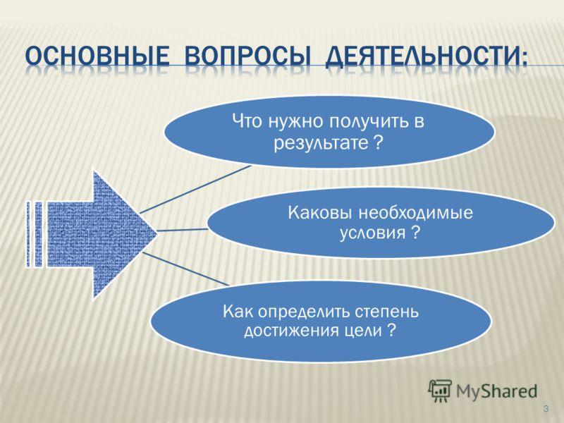 3 Что нужно получить в результате ? Каковы необходимые условия ? Как определить степень достижения цели ?