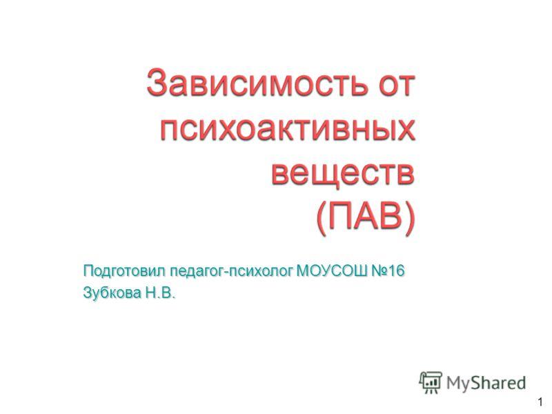 1 Подготовил педагог-психолог МОУСОШ 16 Зубкова Н.В.