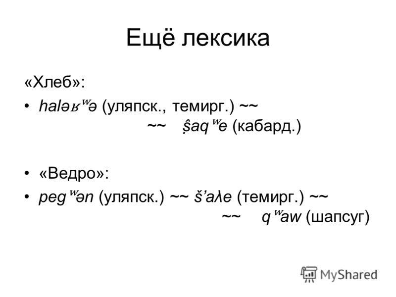 Ещё лексика «Хлеб»: halə ʁʷ ə (уляпск., темирг.) ~~ ~~ ṣ̂aq ʷ e (кабард.) «Ведро»: peg ʷ ən (уляпск.) ~~ šaλe (темирг.) ~~ ~~q ʷ aw (шапсуг)
