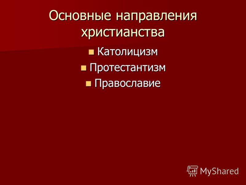 Основные направления христианства Католицизм Католицизм Протестантизм Протестантизм Православие Православие