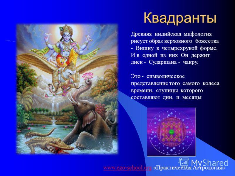 Квадранты www.ezo-school.orgwww.ezo-school.org «Практическая Астрология» Древняя индийская мифология рисует образ верховного божества - Вишну в четырехрукой форме. И в одной из них Он держит диск - Сударшана - чакру. Это - символическое представление
