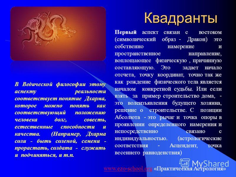 Квадранты www.ezo-school.orgwww.ezo-school.org «Практическая Астрология» Первый аспект связан с востоком (символический образ - Дракон) это собственно намерение и пространственное направление, воплощающее физическую, причинную составляющую. Это задае