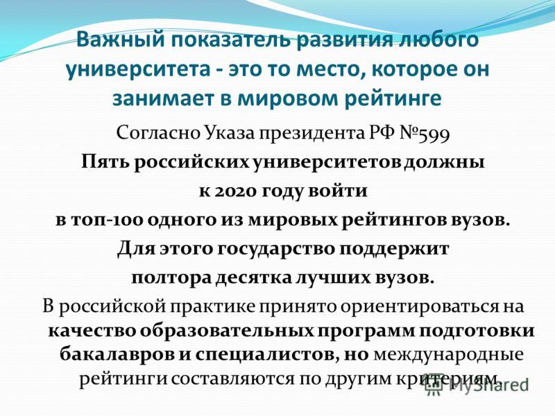 Важный показатель развития любого университета - это то место, которое он занимает в мировом рейтинге Согласно Указа президента РФ 599 Пять российских университетов должны к 2020 году войти в топ-100 одного из мировых рейтингов вузов. Для этого госуд