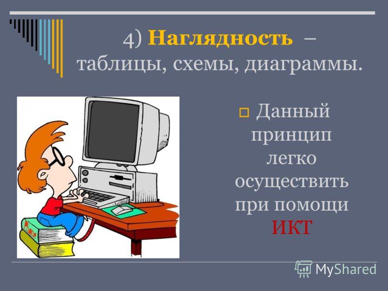 4) Наглядность – таблицы, схемы, диаграммы. Данный принцип легко осуществить при помощи ИКТ