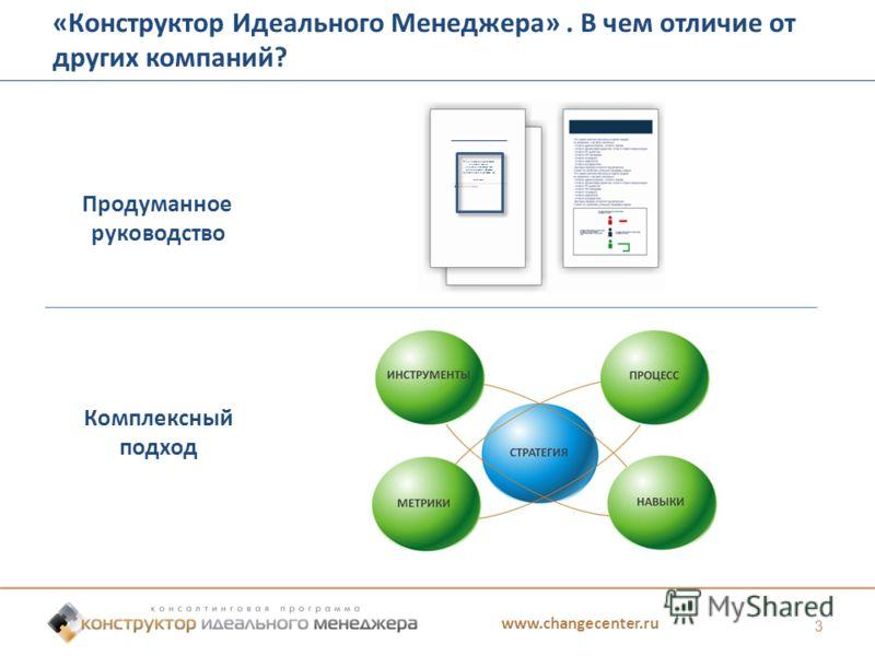 www.changecenter.ru 3 «Конструктор Идеального Менеджера». В чем отличие от других компаний? Продуманное руководство Комплексный подход Менеджеры по продажам первого звена должны понимать, как тренировать и обучать сотрудников, используя эту систему.
