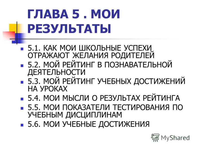 ГЛАВА 5. МОИ РЕЗУЛЬТАТЫ 5.1. КАК МОИ ШКОЛЬНЫЕ УСПЕХИ ОТРАЖАЮТ ЖЕЛАНИЯ РОДИТЕЛЕЙ 5.2. МОЙ РЕЙТИНГ В ПОЗНАВАТЕЛЬНОЙ ДЕЯТЕЛЬНОСТИ 5.3. МОЙ РЕЙТИНГ УЧЕБНЫХ ДОСТИЖЕНИЙ НА УРОКАХ 5.4. МОИ МЫСЛИ О РЕЗУЛЬТАХ РЕЙТИНГА 5.5. МОИ ПОКАЗАТЕЛИ ТЕСТИРОВАНИЯ ПО УЧЕБН