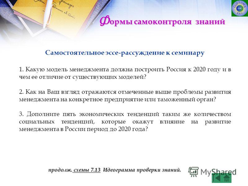 Самостоятельное эссе-рассуждение к семинару 1. Какую модель менеджмента должна построить Россия к 2020 году и в чем ее отличие от существующих моделей? 2. Как на Ваш взгляд отражаются отмеченные выше проблемы развития менеджмента на конкретное предпр