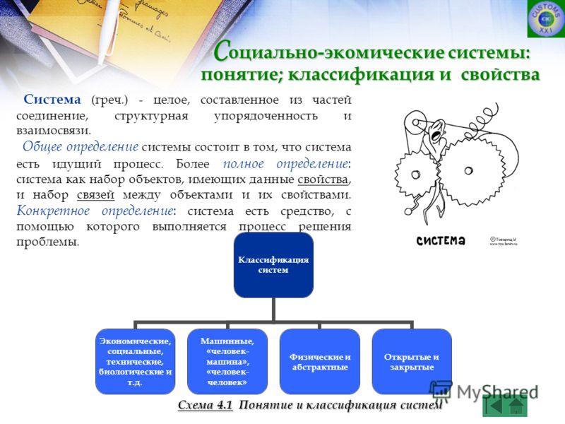 Система (греч.) - целое, составленное из частей соединение, структурная упорядоченность и взаимосвязи. Общее определение системы состоит в том, что система есть идущий процесс. Более полное определение : система как набор объектов, имеющих данные сво