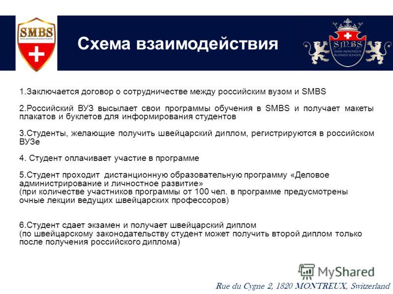 Схема взаимодействия Rue du Cygne 2, 1820 MONTREUX, Switzerland 1.Заключается договор о сотрудничестве между российским вузом и SMBS 2.Российский ВУЗ высылает свои программы обучения в SMBS и получает макеты плакатов и буклетов для информирования сту