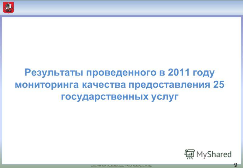 КОМИТЕТ ГОСУДАРСТВЕННЫХ УСЛУГ ГОРОДА МОСКВЫ Результаты проведенного в 2011 году мониторинга качества предоставления 25 государственных услуг 9