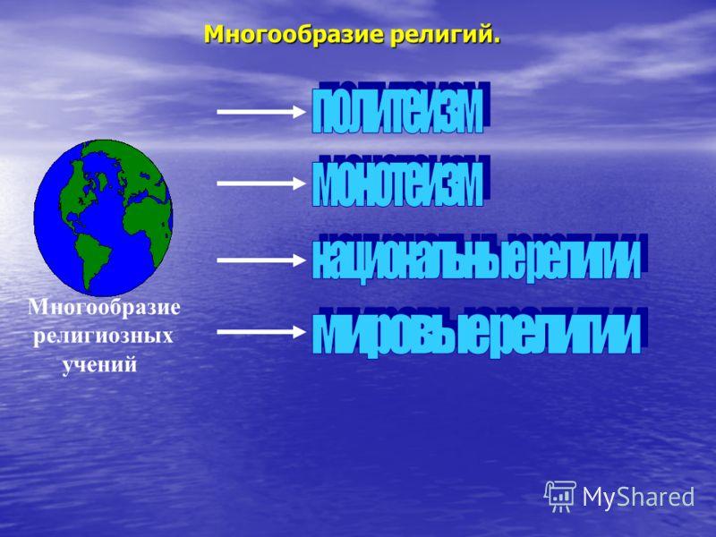 Многообразие религиозных учений Многообразие религий.