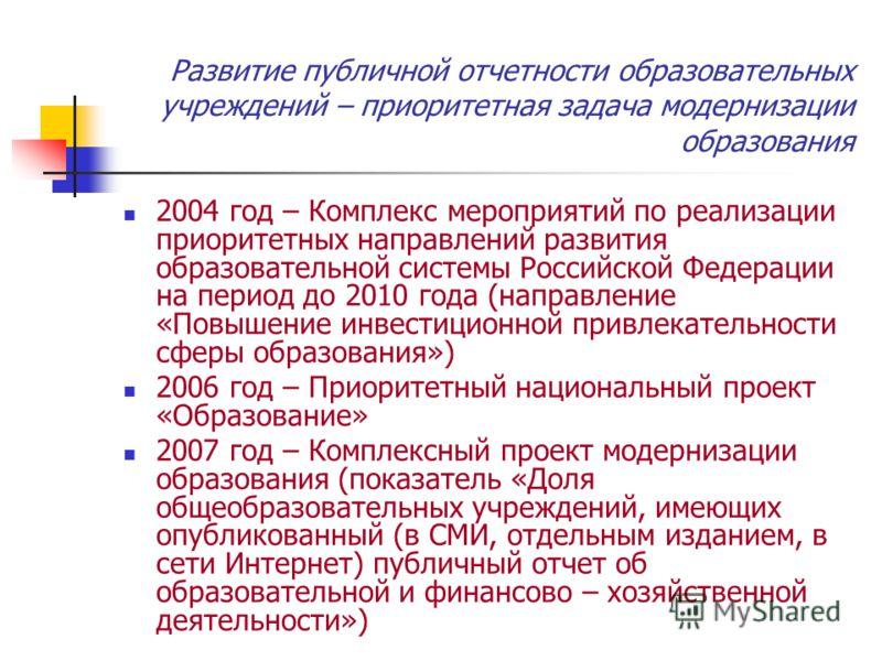 Развитие публичной отчетности образовательных учреждений – приоритетная задача модернизации образования 2004 год – Комплекс мероприятий по реализации приоритетных направлений развития образовательной системы Российской Федерации на период до 2010 год