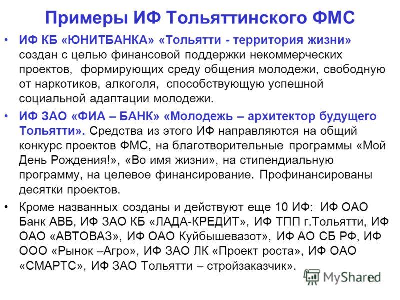 Примеры ИФ Тольяттинского ФМС ИФ КБ «ЮНИТБАНКА» «Тольятти - территория жизни» создан с целью финансовой поддержки некоммерческих проектов, формирующих среду общения молодежи, свободную от наркотиков, алкоголя, способствующую успешной социальной адапт