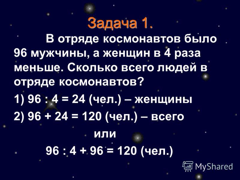 Задача 1. В отряде космонавтов было 96 мужчины, а женщин в 4 раза меньше. Сколько всего людей в отряде космонавтов? 1) 96 : 4 = 24 (чел.) – женщины 2) 96 + 24 = 120 (чел.) – всего или 96 : 4 + 96 = 120 (чел.)