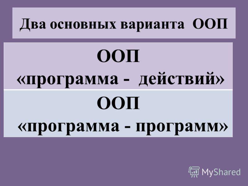 Два основных варианта ООП ООП «программа - действий» ООП «программа - программ»