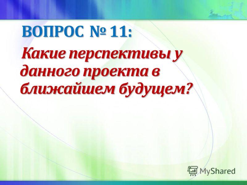ВОПРОС 11: ВОПРОС 11: Какие перспективы у данного проекта в ближайшем будущем? Какие перспективы у данного проекта в ближайшем будущем?