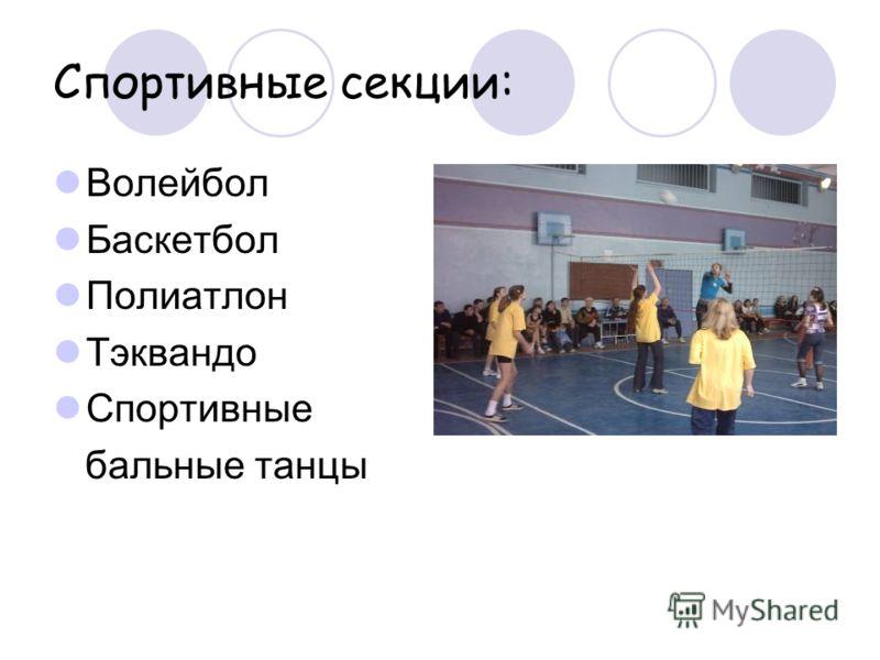 Спортивные секции: Волейбол Баскетбол Полиатлон Тэквандо Спортивные бальные танцы