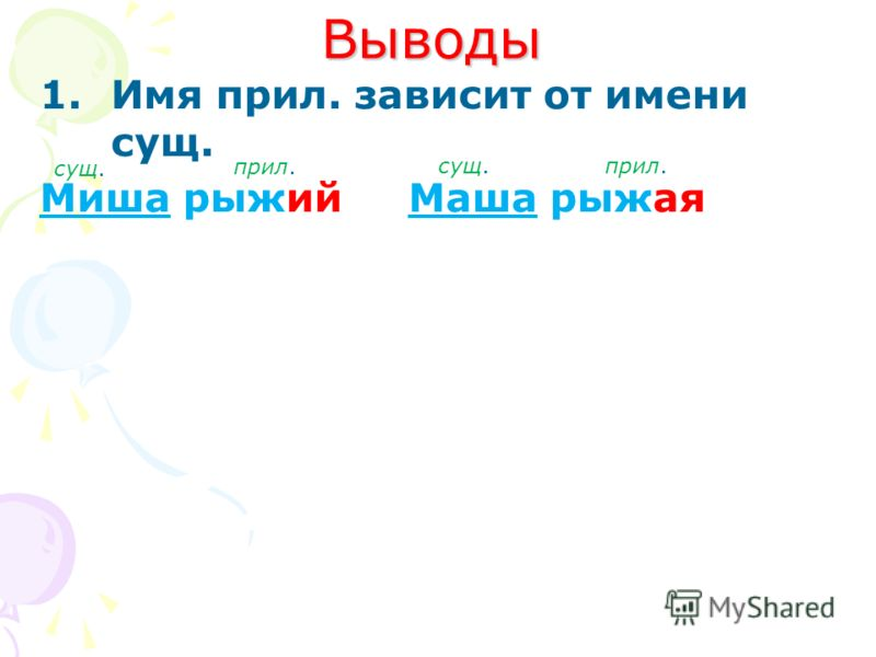 Выводы 1.Имя прил. зависит от имени сущ. Миша рыжий Маша рыжая сущ. прил.