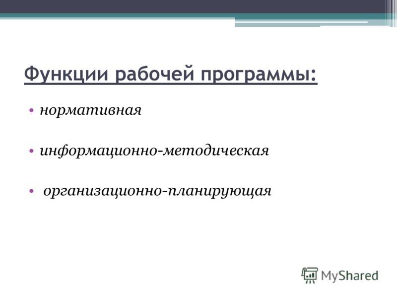 Функции рабочей программы: нормативная информационно-методическая организационно-планирующая