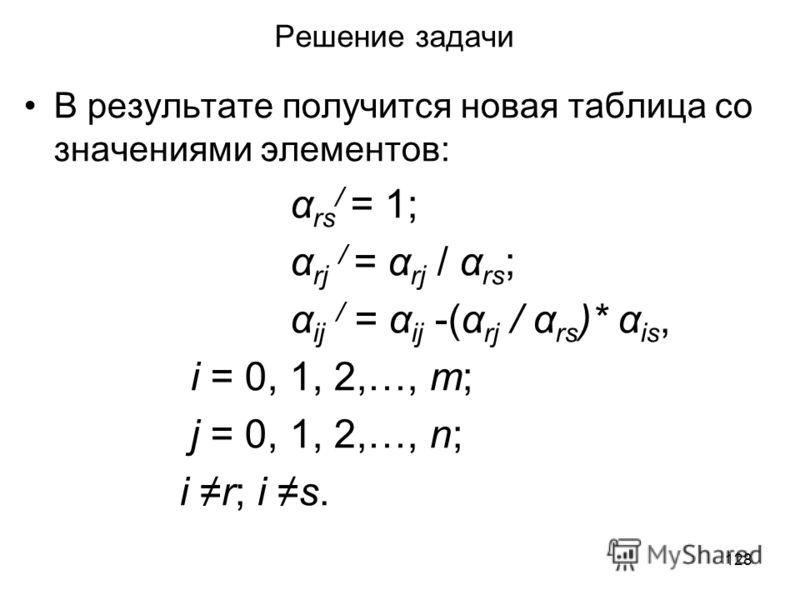 128 Решение задачи В результате получится новая таблица со значениями элементов: α rs / = 1; α rj / = α rj / α rs ; α ij / = α ij -(α rj / α rs )* α is, i = 0, 1, 2,…, m; j = 0, 1, 2,…, n; i r; i s.