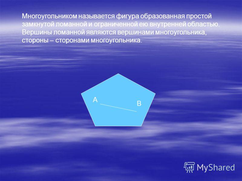 Многоугольником называется фигура образованная простой замкнутой ломанной и ограниченной ею внутренней областью. Вершины ломанной являются вершинами многоугольника, стороны – сторонами многоугольника. A B