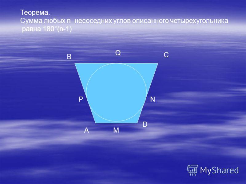 Теорема. Сумма любых n несоседних углов описанного четырехугольника равна 180°(n-1) A B C D P Q N M