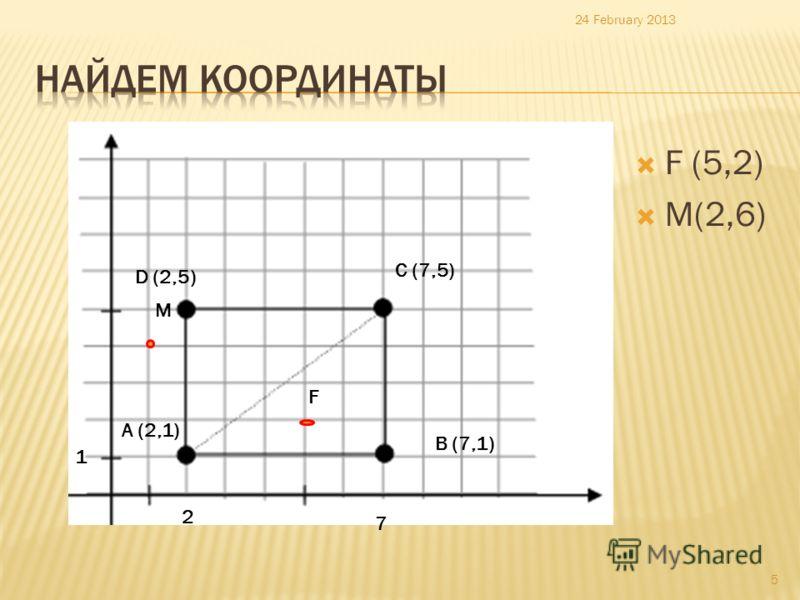 F (5,2) M(2,6) 24 February 2013 5 2 1 А (2,1) 7 B (7,1) C (7,5) D (2,5) F M