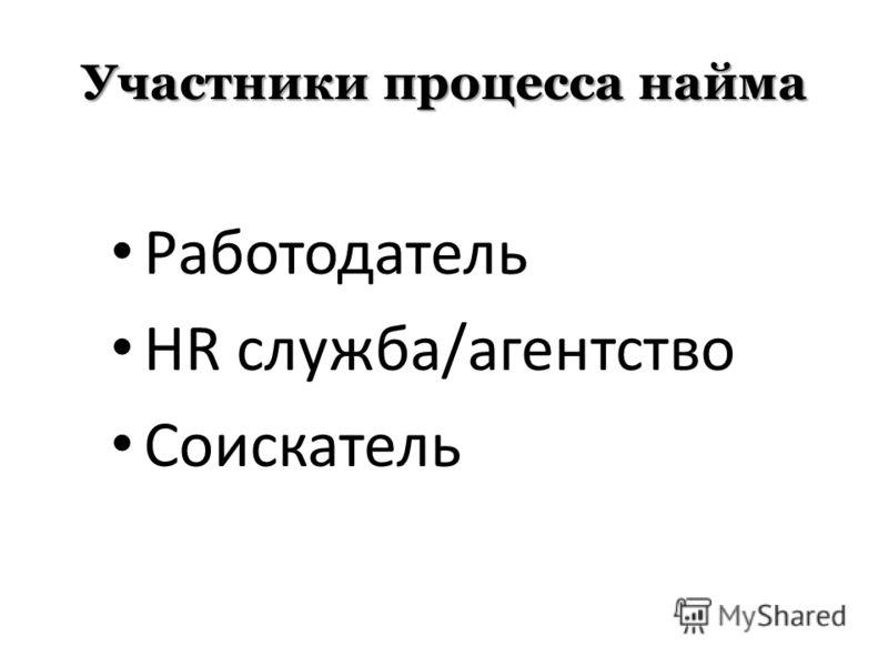 Участники процесса найма Работодатель HR служба/агентство Соискатель