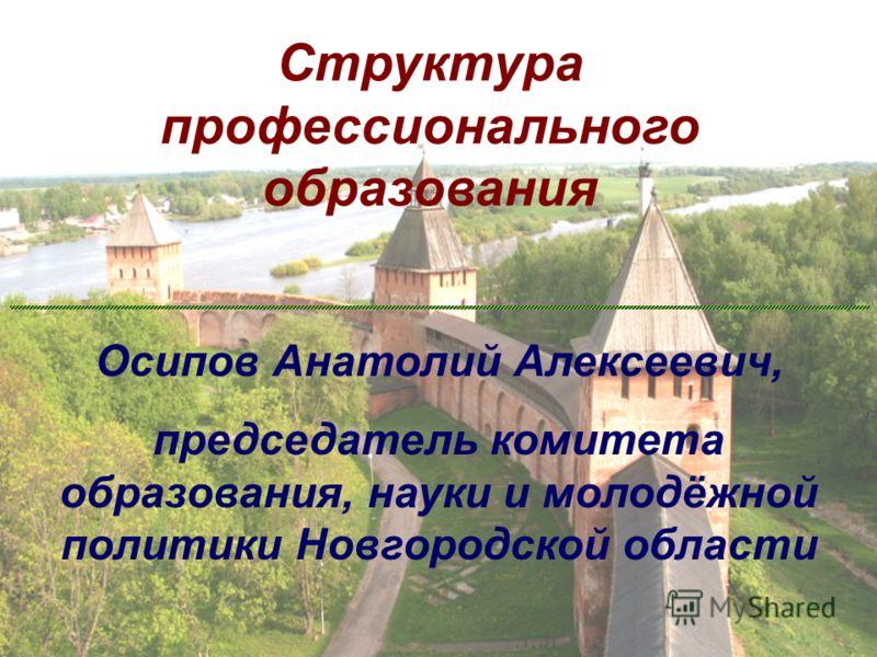 Структура профессионального образования Осипов Анатолий Алексеевич, председатель комитета образования, науки и молодёжной политики Новгородской области