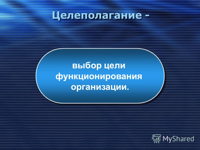 Целеполагание - выбор цели функционирования организации. выбор цели функционирования организации.