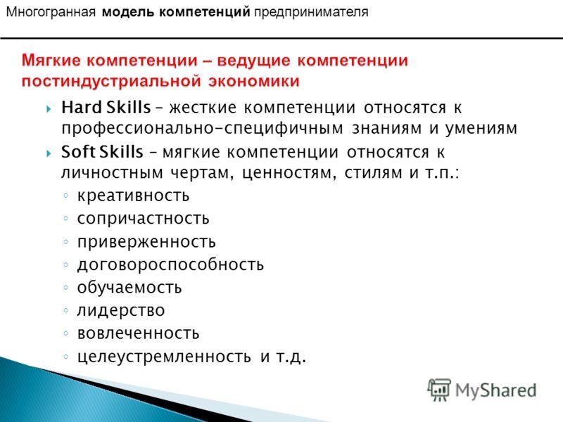 Hard Skills – жесткие компетенции относятся к профессионально-специфичным знаниям и умениям Soft Skills – мягкие компетенции относятся к личностным чертам, ценностям, стилям и т.п.: креативность сопричастность приверженность договороспособность обуча