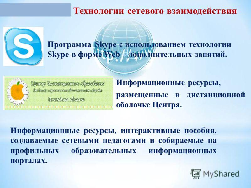 Технологии сетевого взаимодействия Программа Skype с использованием технологии Skype в форме Web – дополнительных занятий. Информационные ресурсы, размещенные в дистанционной оболочке Центра. Информационные ресурсы, интерактивные пособия, создаваемые