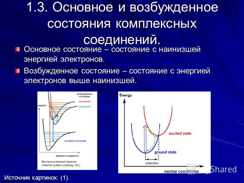 1.3. Основное и возбужденное состояния комплексных соединений. Основное состояние – состояние с наинизшей энергией электронов. Возбужденное состояние – состояние с энергией электронов выше наинизшей. Источник картинок: (1). Источник картинок: (1).