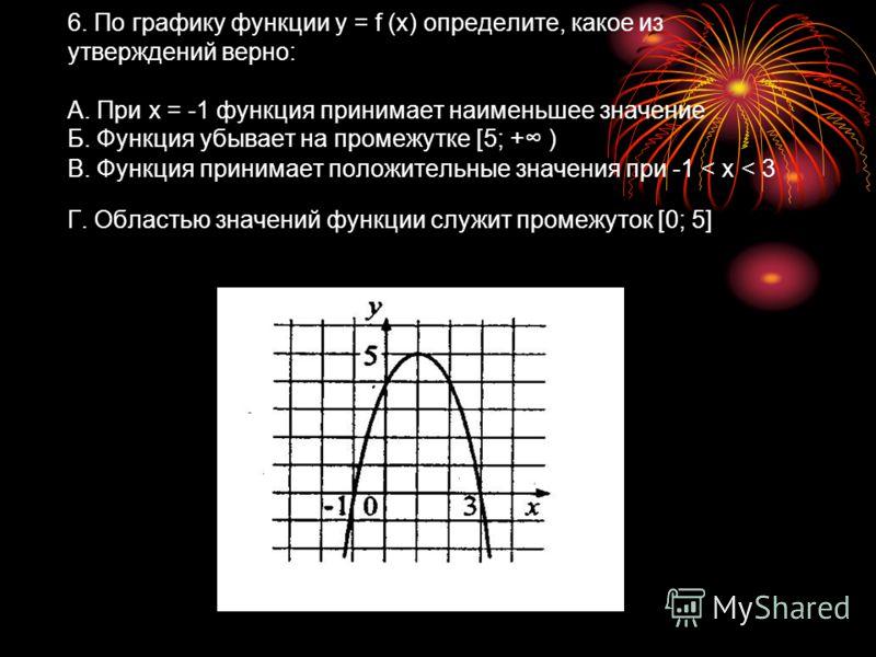 6. По графику функции y = f (x) определите, какое из утверждений верно: А. При х = -1 функция принимает наименьшее значение Б. Функция убывает на промежутке [5; + ) В. Функция принимает положительные значения при -1 < x < 3 Г. Областью значений функц