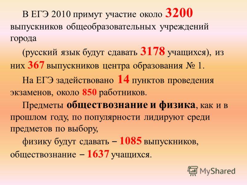 В ЕГЭ 2010 примут участие около 3200 выпускников общеобразовательных учреждений города (русский язык будут сдавать 3178 учащихся), из них 367 выпускников центра образования 1. На ЕГЭ задействовано 14 пунктов проведения экзаменов, около 850 работников