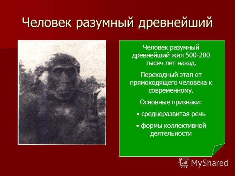 Человек разумный древнейший Человек разумный древнейший жил 500-200 тысяч лет назад. Переходный этап от прямоходящего человека к современному. Основные признаки: среднеразвитая речь формы коллективной деятельности