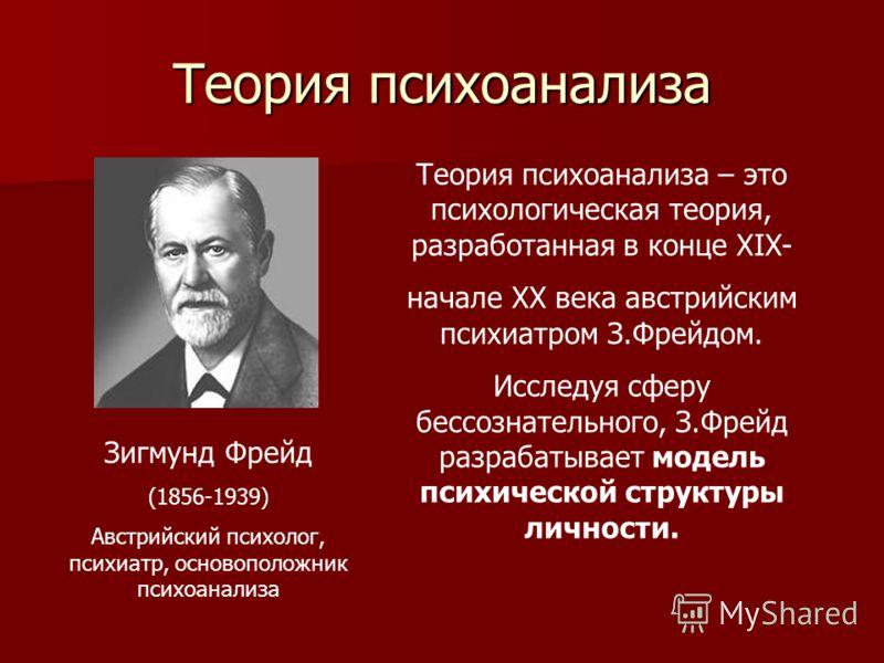 Теория психоанализа Зигмунд Фрейд (1856-1939) Австрийский психолог, психиатр, основоположник психоанализа Теория психоанализа – это психологическая теория, разработанная в конце XIX- начале XX века австрийским психиатром З.Фрейдом. Исследуя сферу бес